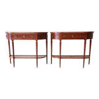 Pair of Mahogany French Louis XVI Hall Tables by Fortunato For Sale