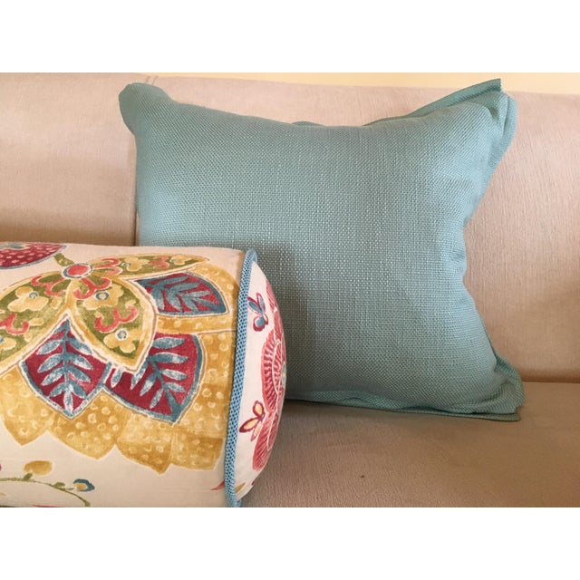 Aqua Houndstooth Pillow Covers - A Pair For Sale - Image 10 of 13