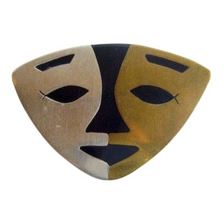 Mexican Modernist Sterling Brass + Onyx Abstract Face Mask Brooch For Sale