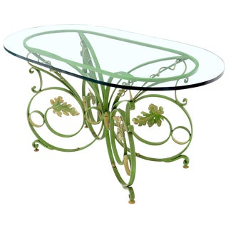 Painted Wrought Iron Base Oval Racetrack Shape Glass Top Dining Outdoor Table For Sale