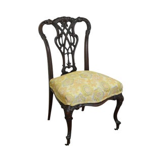 Antique Victorian Renaissance Carved Mahogany Slipper Chair For Sale