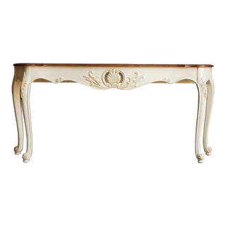 1990s French Ethan Allen Legacy Carved Console/Sofa Table For Sale
