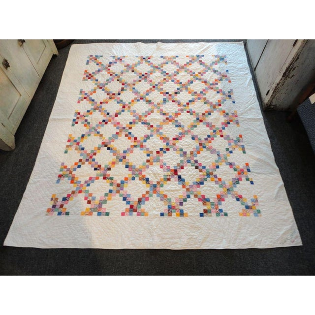 Signed and Dated 1941 Postage Stamp Double Irish Chain Quilt - Image 2 of 6
