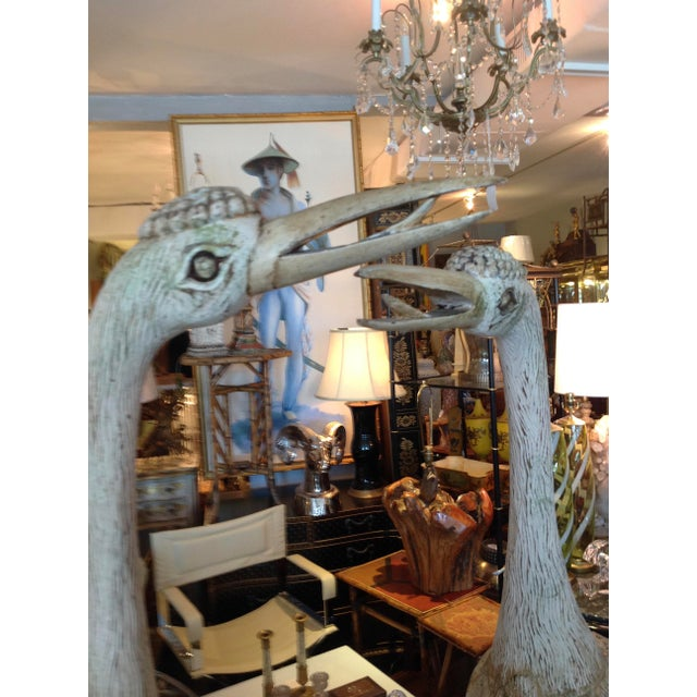 Gold Grandly Scaled Pair of Vintage Carved Cranes For Sale - Image 8 of 14