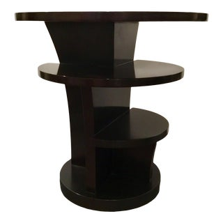 Modern Espresso Brown Lacquered Wood Swaim Co. Lucille End Table For Sale