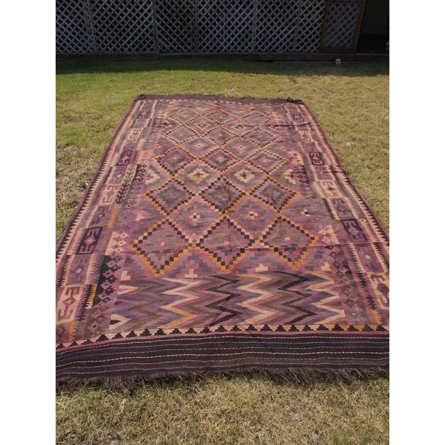 "Purple Diamond Kilim Rug - 8'8"" x 15'1"" - Image 3 of 11"
