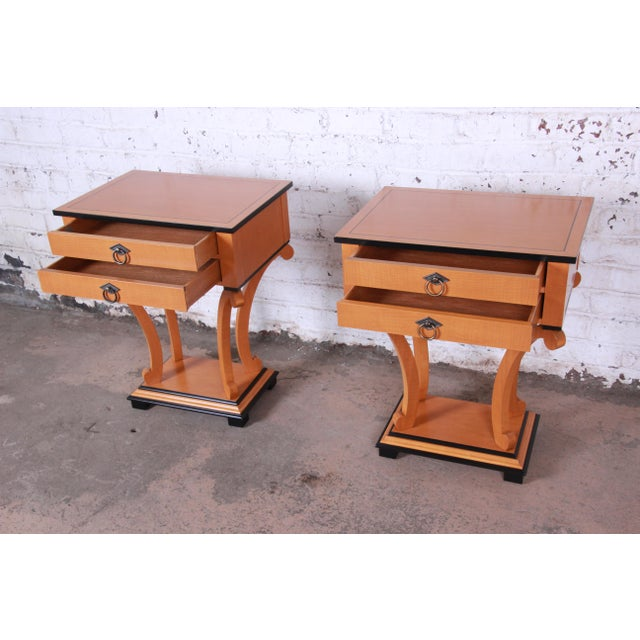 Metal Baker Furniture Biedermeier Style Fully Restored Night Stands - a Pair For Sale - Image 7 of 13