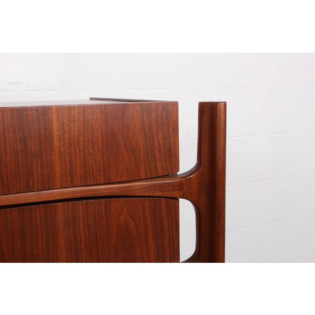 Walnut Curved Front Dresser Designed by William Hinn - Image 10 of 10