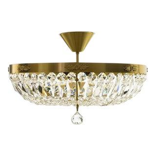 Crystal Plafond Brass Chandelier - Large For Sale