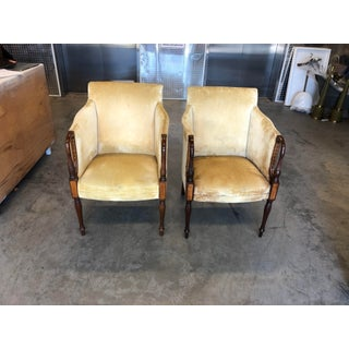 Vintage Mid Century Wood and Velvet Antique Chairs- A Pair Preview
