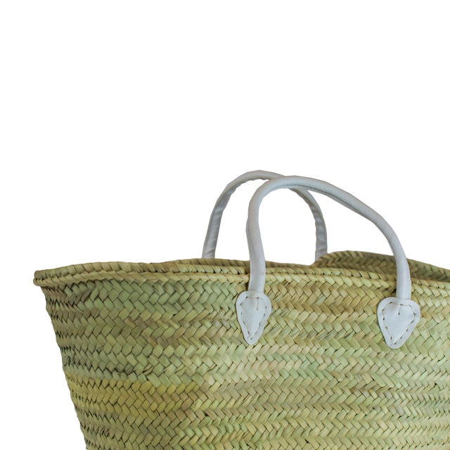 French / Moroccan Market Basket With White Leather Straps - Image 2 of 3
