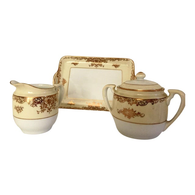 Noritake Sugar & Creamer With Tray - Set of 3 For Sale