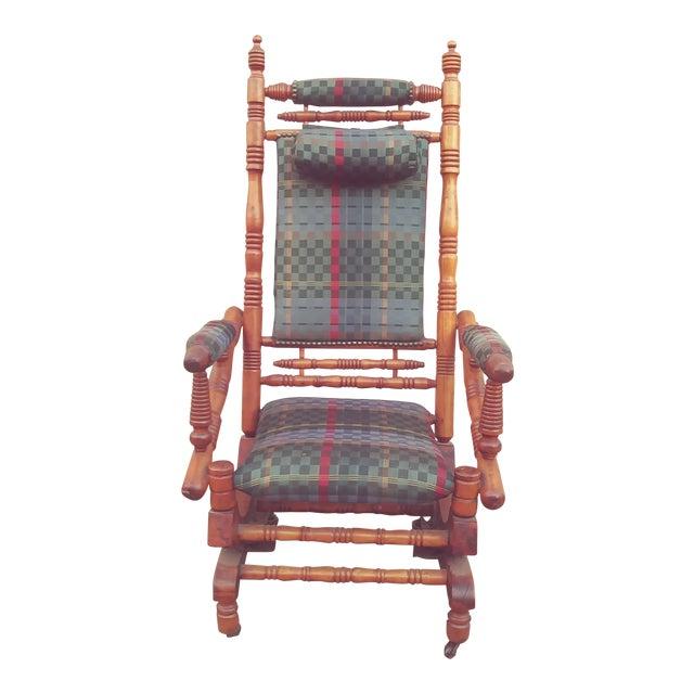 Antique Eastlake Victorian Turned Walnut Blue Platform Rocking Chair For Sale