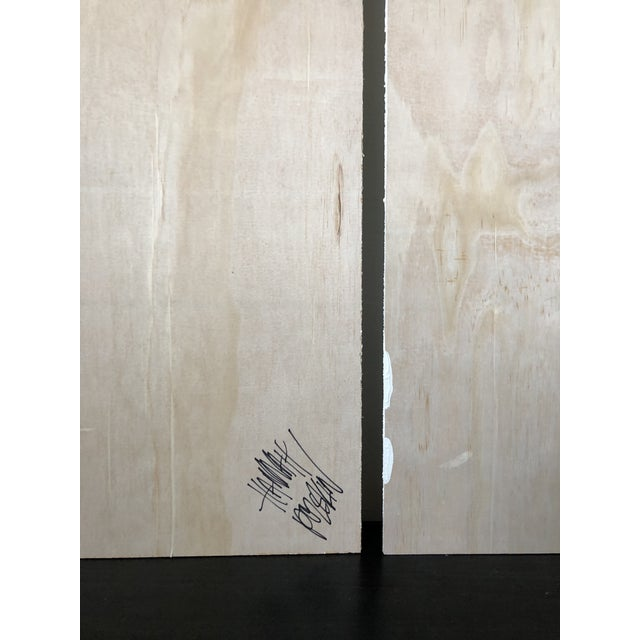 Exposed Birch Wood Abstract Black and White Diptych For Sale - Image 9 of 10