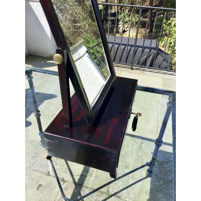 Brass Asian Modern Rosewood Lacquer Dressing Table Mirror For Sale - Image 7 of 13