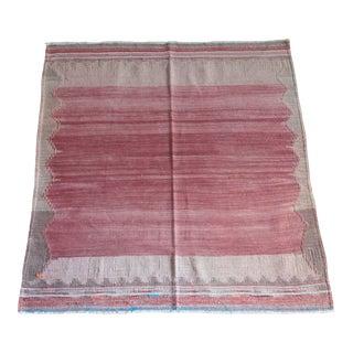 1940s Vintage Handmade Flatweave Floor Kilim Rug For Sale