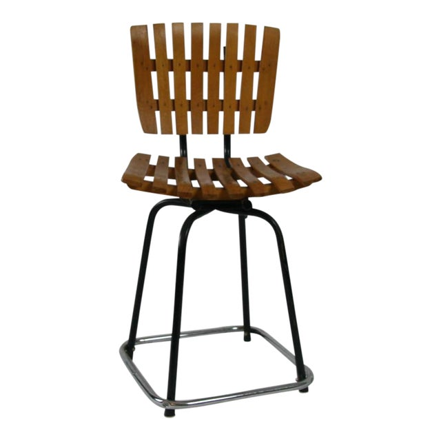 Vintage Mid Century Arthur Umanoff Style Slatted Swivel Chair For Sale