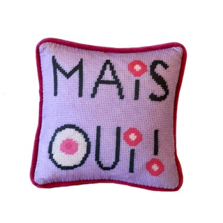 Contemporary Mais Oui! Designer French Pillow For Sale