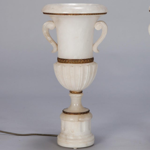 Alabaster Pair Tall Urn Form Alabaster and Bronze Lamps For Sale - Image 7 of 11