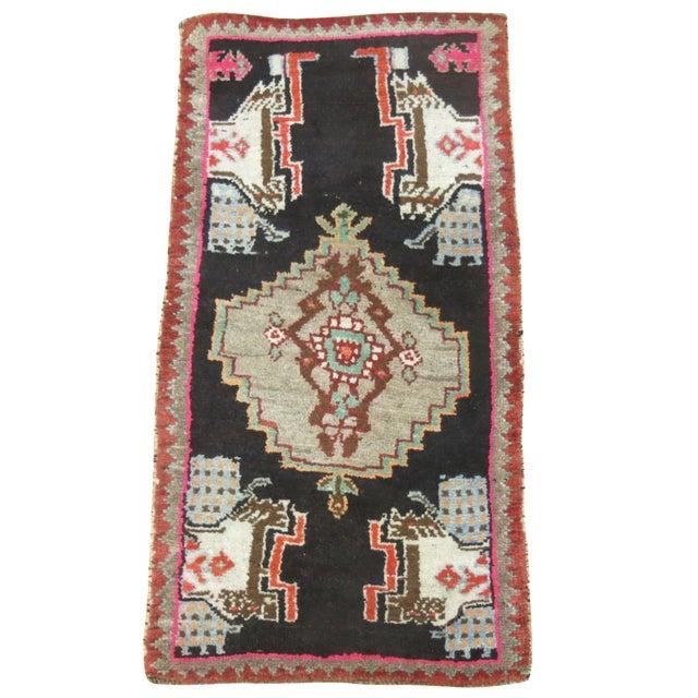 Black & Pink Vintage Turkish Rug - 1'7'' X 3' - Image 1 of 5