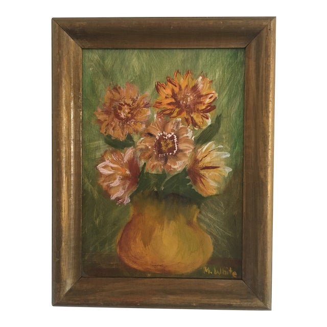 Vintage Floral Still Life Painting on Board For Sale