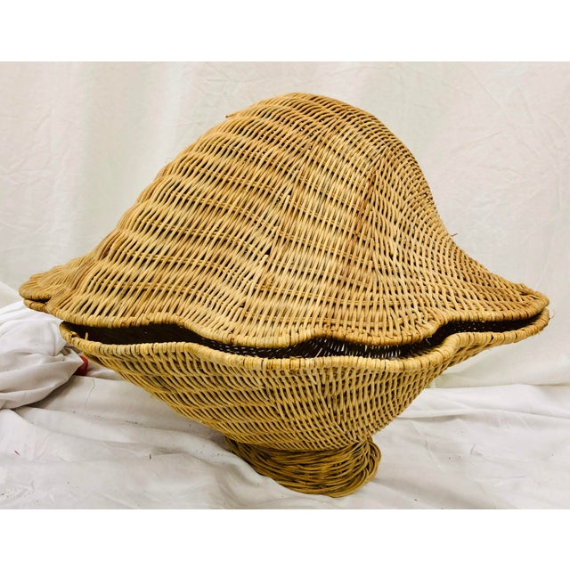 Vintage Woven Wicker Clam Shell Basket For Sale - Image 13 of 13