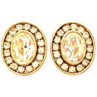 20th Century Givenchy Gold & Swarovski Crystal Earrings For Sale