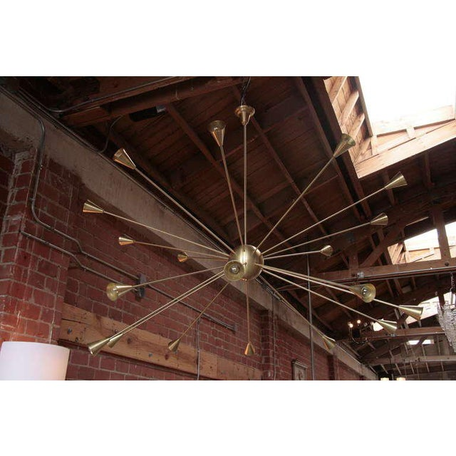 Mid-Century Modern Brass Sputnik Chandelier with Twenty Arms For Sale - Image 3 of 9