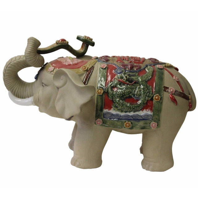 Clay Asian Detail Handmade Ceramic Elephant Trunk Holding Ru Yi & Power Dragon Decor Back Rest For Sale - Image 7 of 7