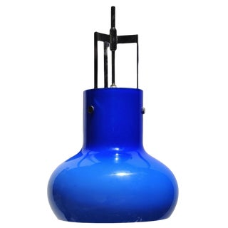 Studio Venini Pear Shape Blue Glass Pendant, Murano Italy For Sale