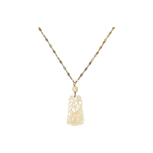 1920s Carved Bone Pendant & Ornate Chain For Sale - Image 4 of 5
