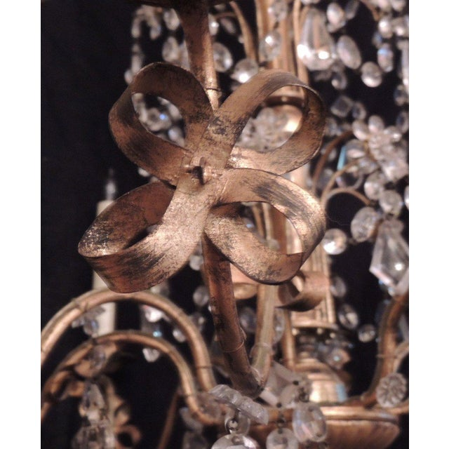 20th C French Grand Bagues Tole and Crystal Chandelier For Sale In Charleston - Image 6 of 10