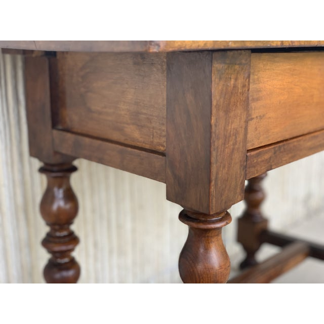 Spanish 1890s Walnut Side Table Single Drawer Wit Turned Legs For Sale - Image 9 of 13