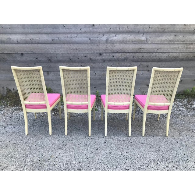 Empire Hickory Faux Bamboo and Cane Pink Side/Dining Chairs - Set of 4 For Sale - Image 3 of 11