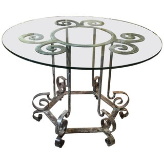 One of a Kind Iron Spiral Top Center Table For Sale