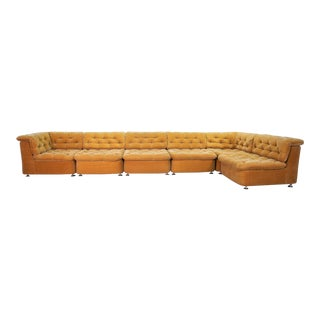 Mid-Century Design Peach Velvet Modular Lounge Sofaset, 6 Elements, Dreipunkt, Germany, 1970s For Sale