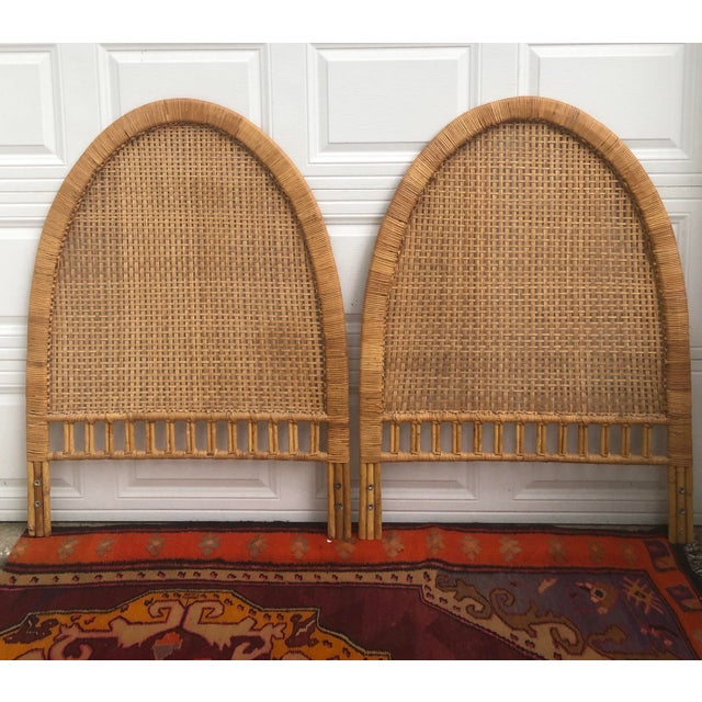 Tan Vintage Mid-Century Arched Cane Bamboo Rattan Buri Twin Headboards - a Pair For Sale - Image 8 of 10