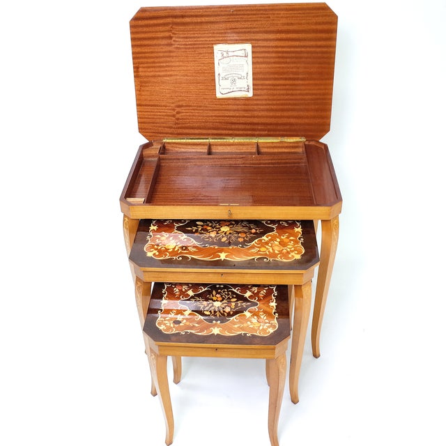 Italian Marquetry Inlay Music Box Nesting Tables For Sale - Image 5 of 8