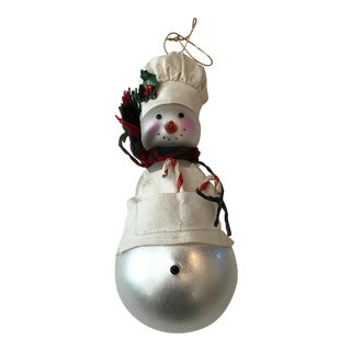 1960s Vintage Old Mold German Blown Glass Snowman Chef Christmas Ornament For Sale