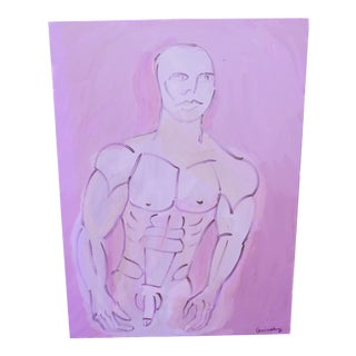 """""""Man in Mauve"""", Oil on Canvas, Signed Guinsberg For Sale"""