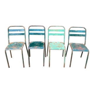 1960s French Industrial Painted Metal Stacking Chairs - Set of 4 For Sale
