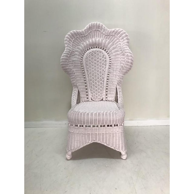Wicker Wicker Victorian Scalloped Edged Accent Side Chair For Sale - Image 7 of 7