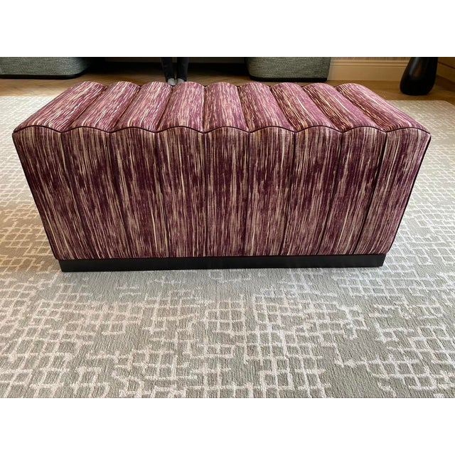 Contemporary Featured in the 2020 San Francisco Decorator Showcase — Custom Maroon Dining Bench, Pair Available For Sale - Image 3 of 9