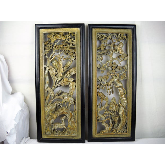 Asian Carved Wood Panels - A Pair - Image 2 of 8