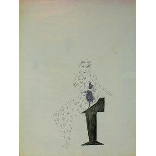 "Kjell Erik Killi Olsen ""Woman Holding Rat"" Drawing"