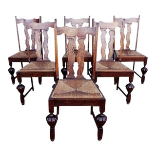 Antique Oak French Jacobean Dining Chairs - Set of 6