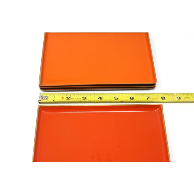 Vintage Orange Lacquered Trays - Set of 5 For Sale - Image 9 of 11