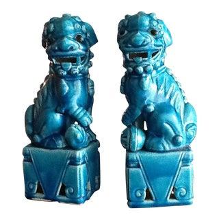 Japanese Royal Blue Foo Dogs - A Pair