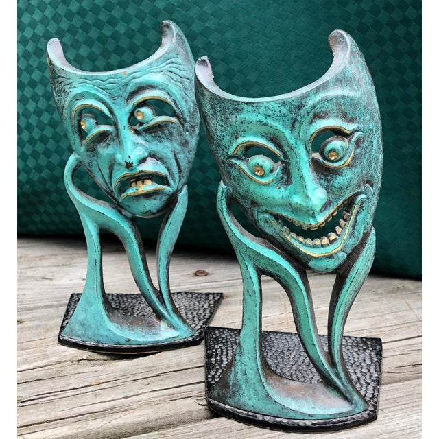Black Vintage Mid Century Comedy & Tragedy Israeli Patinated Brass Bookends For Sale - Image 8 of 8