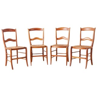 Set of Four Country French Rush Seat Dining Chairs For Sale